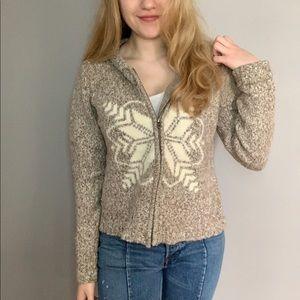 Sundance Snowflake Zip-Up Cardigan Sweater